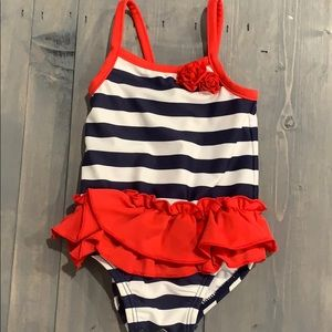 Carter's red, white, blue striped swimsuit